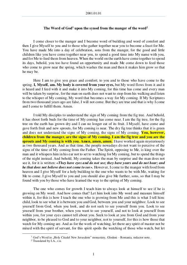 The Word of God in Romania 2001.01.01 - The Word of God upon the synod from t
