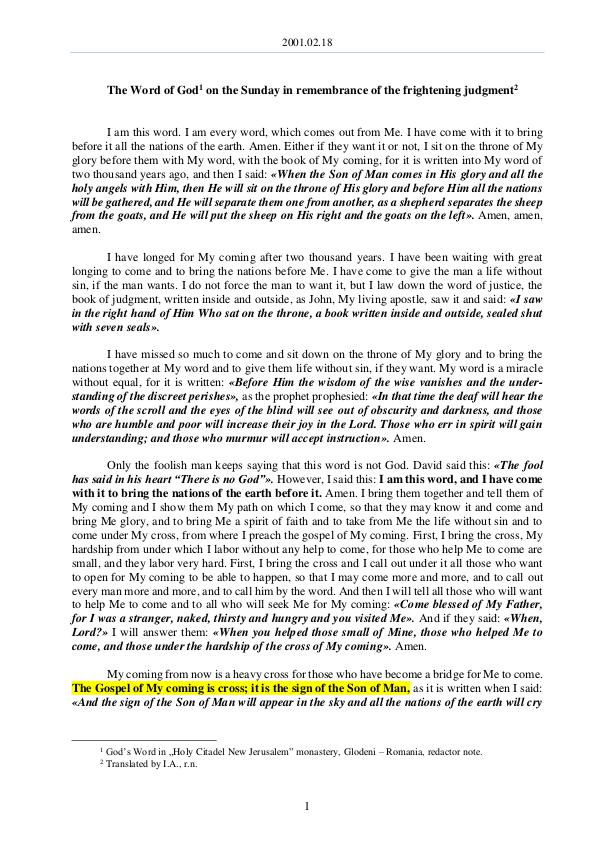 The Word of God in Romania mbrance of the frightening judgment 2001.02.18 - The Word of God on the Sunday in reme