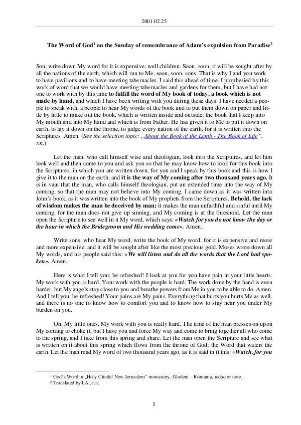 The Word of God in Romania 2001.02.25 - The Word of God on the Sunday of reme