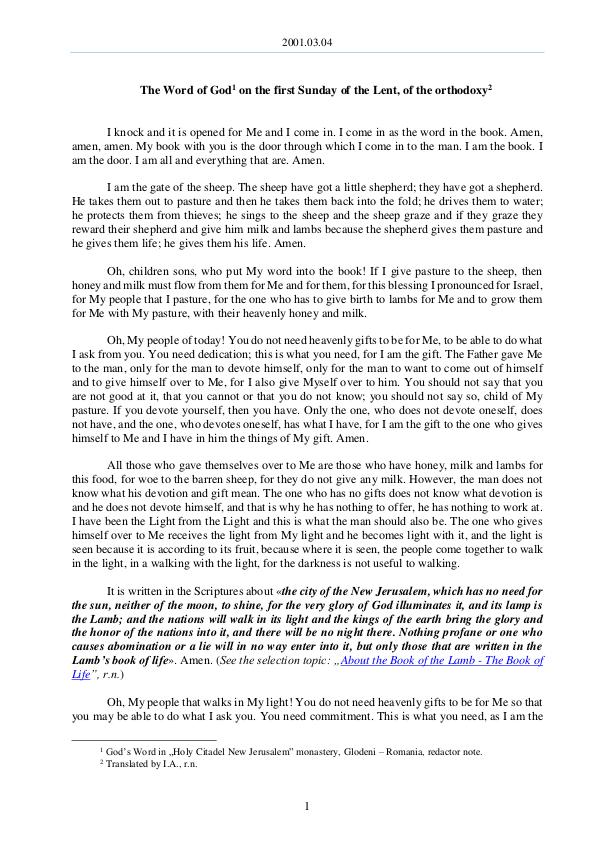 The Word of God in Romania 2001.03.04 - The Word of God on the first Sunday o