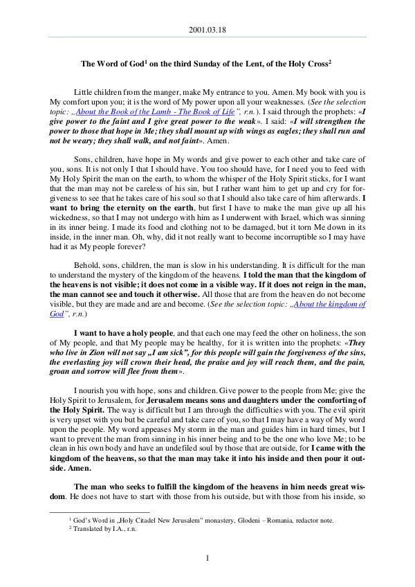 The Word of God in Romania f the Lent, of the Holy Cross 2001.03.18 - The Word of God on the third Sunday o