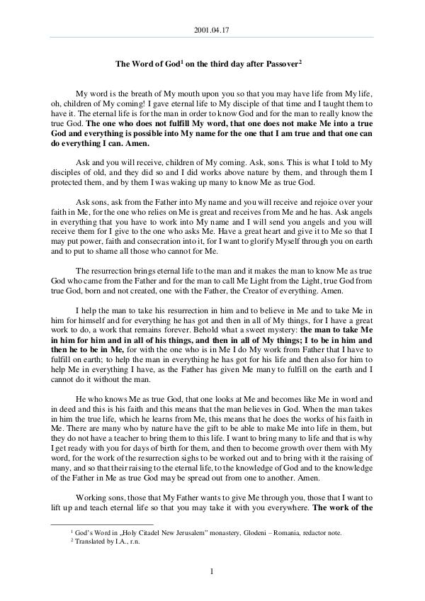 The Word of God in Romania r Passover 2001.04.17 - The Word of God on the third day afte