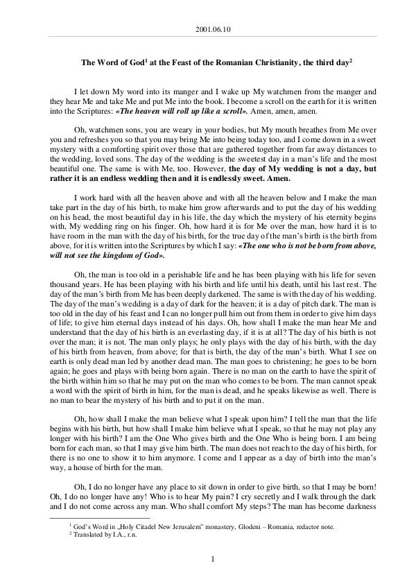 The Word of God in Romania omanian Christianity, the third day 2001.06.10 - The word of God at the Feast of the R