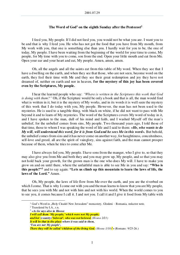 The Word of God in Romania after the Pentecost 2001.07.29 - The Word of God on the eighth Sunday