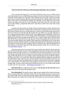 The Word of God in Romania omanian Christianity, the second day