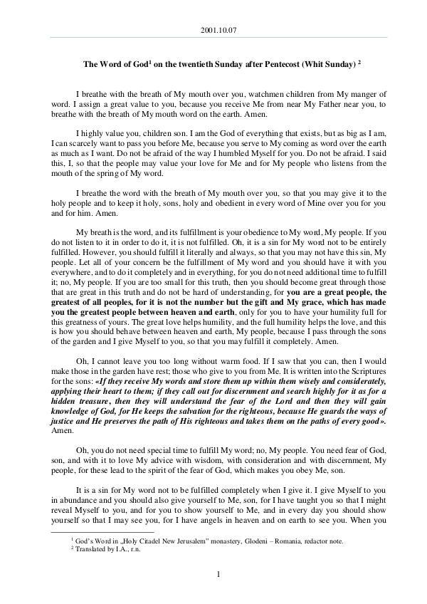 2001.10.07 - The Word of God on the twentieth Sund