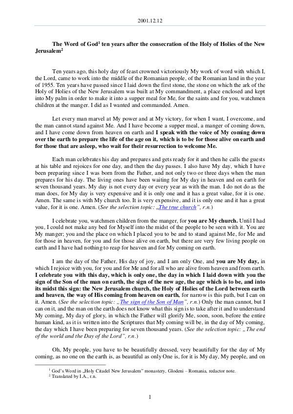 The Word of God in Romania onsecration of the Holy of Holies of the New Jerusalem 2001.12.12 - The Word of God ten years after the c