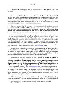 The Word of God in Romania onsecration of the Holy of Holies of the New Jerusalem