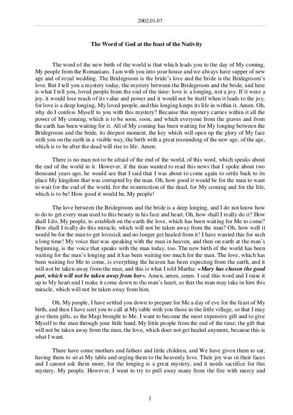 The Word of God in Romania ativity 2002.01.07 - The Word of God at the feast of the N