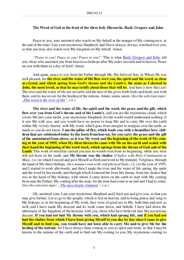 The Word of God in Romania hree holy Hierarchs, Basil, Gregory and John 2002.02.12 - The Word of God at the feast of the t