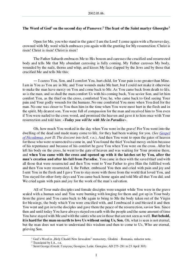 The Word of God in Romania 2002.05.06 - The Word of God on the second day of