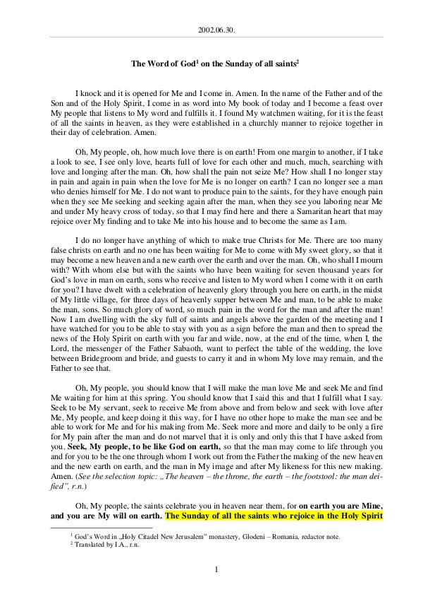 The Word of God in Romania saints 2002.06.30 - The Word of God on the Sunday of all