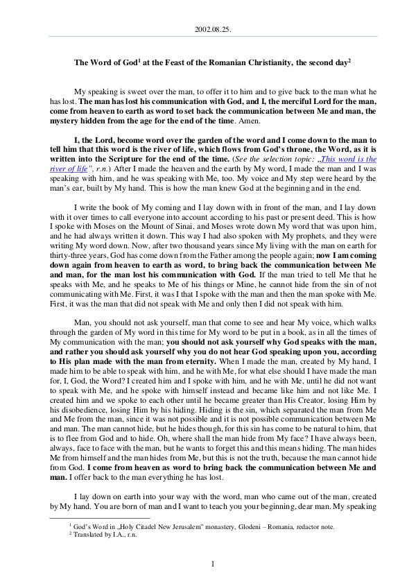 The Word of God in Romania omanian Christianity, the second day 2002.08.25 - The Word of God at the Feast of the R