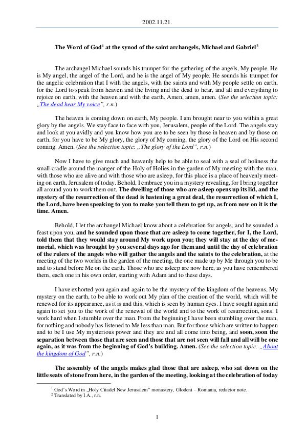 The Word of God in Romania aint archangels, Michael and Gabriel 2002.11.21 - The Word of God at the synod of the s