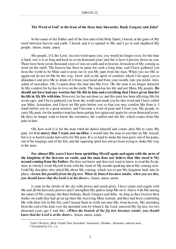 The Word of God in Romania hree holy hierarchs, Basil, Gregory and John 2003.02.12 - The Word of God at the feast of the t