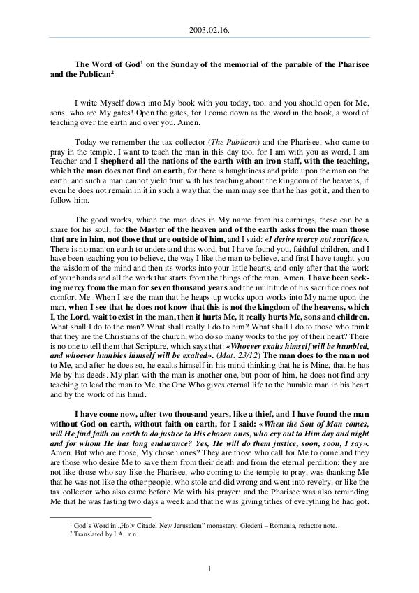 2003.02.16 - The Word of God on the Sunday of the