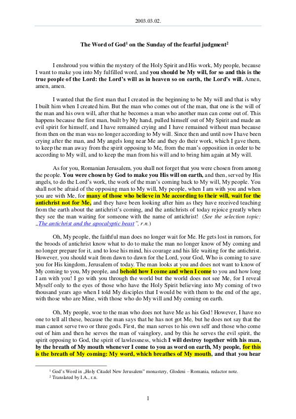 2003.03.02 - The Word of God on the Sunday of the