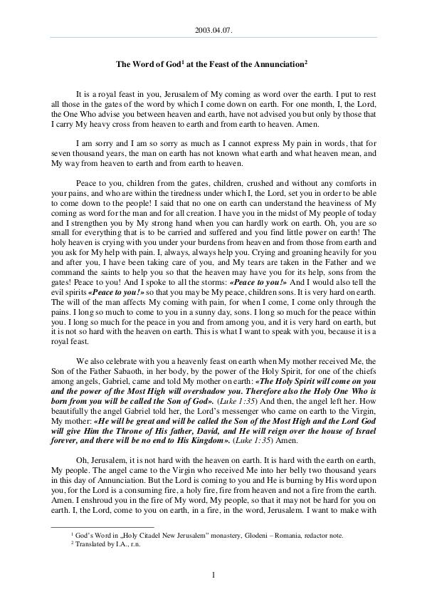 The Word of God in Romania nnunciation 2003.04.07 - The Word of God at the Feast of the A