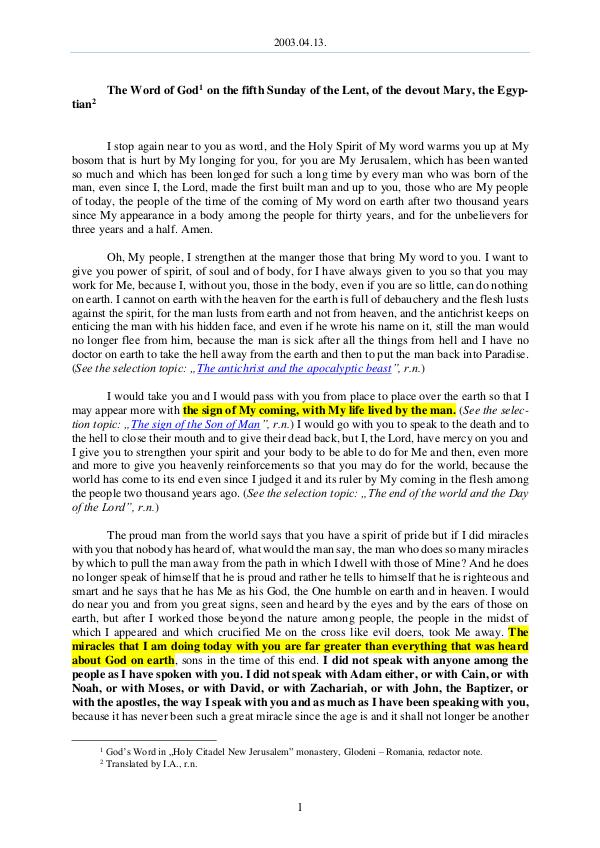 The Word of God in Romania f the Lent, of the devout Mary, the Egyptian 2003.04.13 - The Word of God on the fifth Sunday o