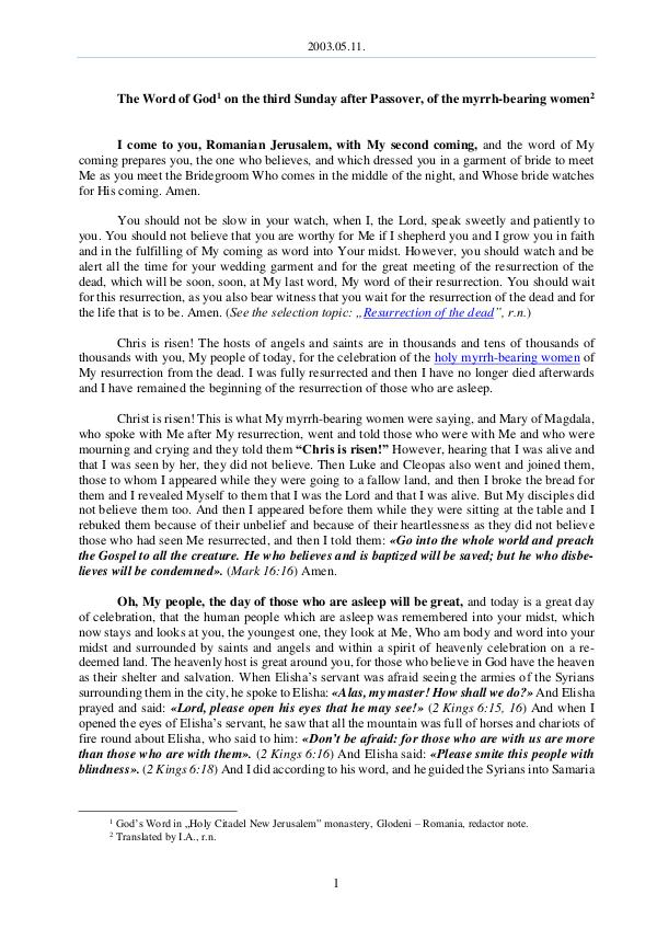 2003.05.11 - The Word of God on the third Sunday a