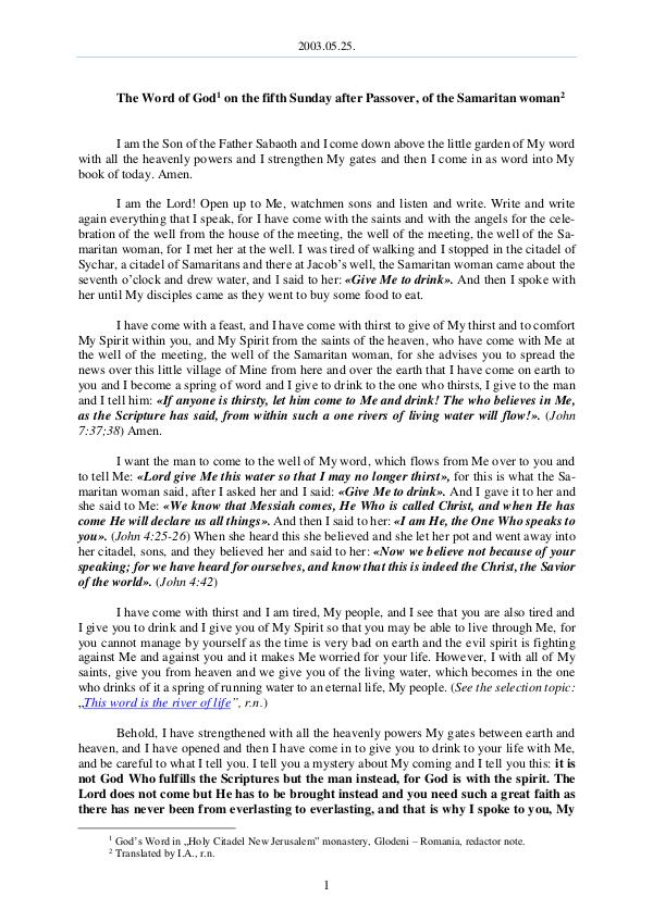 The Word of God in Romania fter Passover, of the Samaritan woman 2003.05.25 - The Word of God on the fifth Sunday a