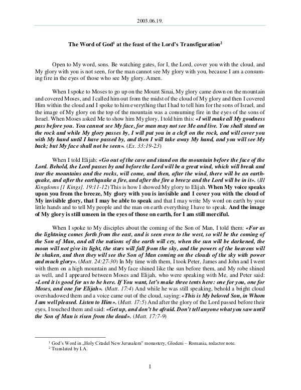 The Word of God in Romania ord s Transfiguration 2003.08.19 - The Word of God at the feast of the L