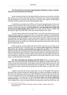 The Word of God in Romania omanian Christianity, on the second day