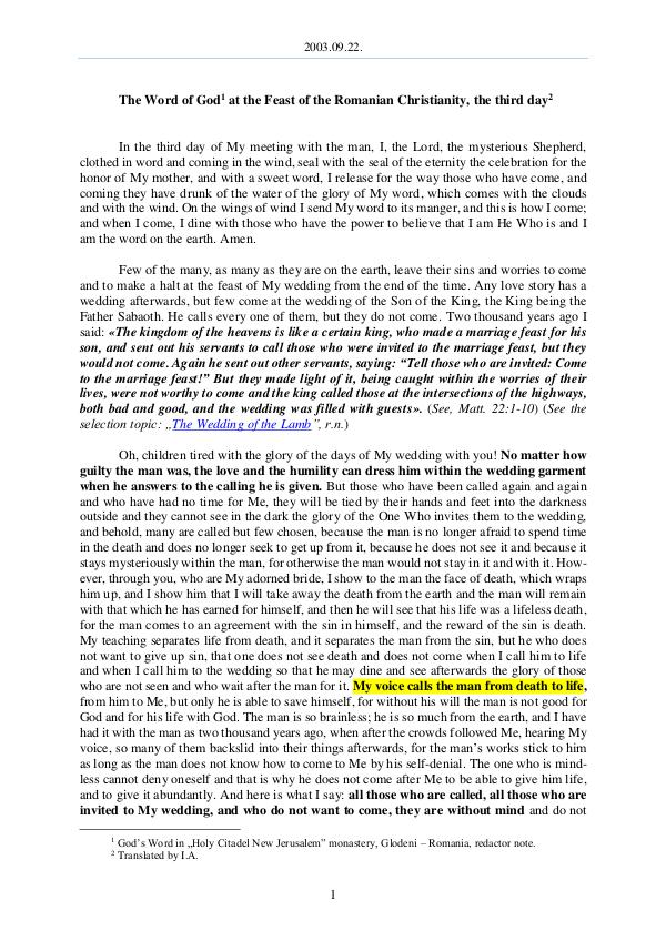 The Word of God in Romania omanian Christianity, the third day 2003.09.22 - The Word of God at the Feast of the R