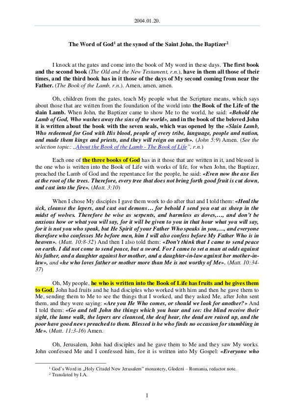 The Word of God in Romania 2004.01.20 - The Word of God at the synod of the S