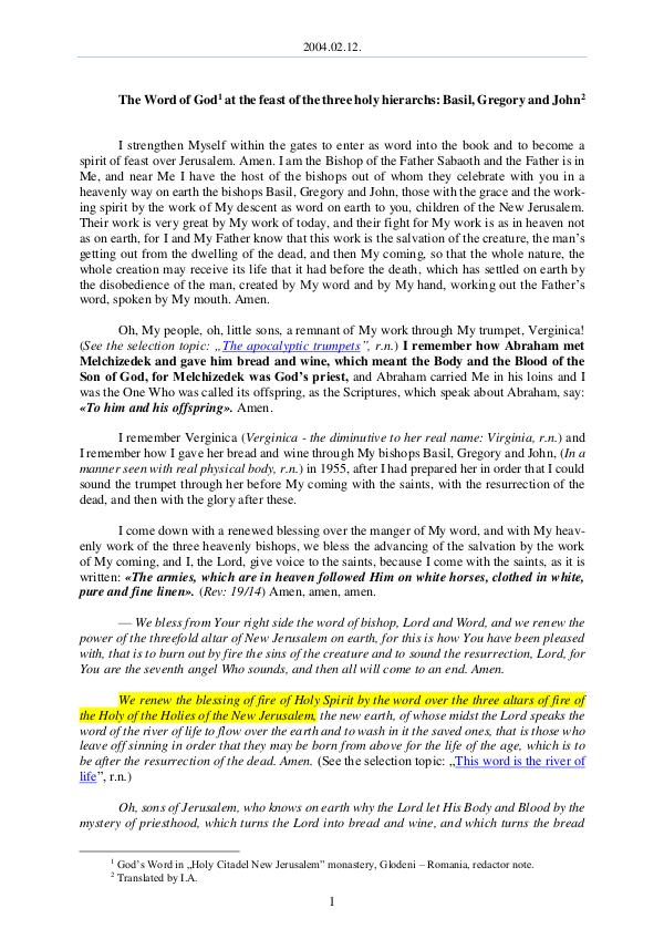The Word of God in Romania hree holy hierarchs, Basil, Gregory and John 2004.02.12 - The Word of God at the feast of the t