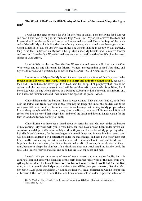 The Word of God in Romania f the Lent, of the devout Mary, the Egyptian 2004.03.29 - The Word of God on the fifth Sunday o