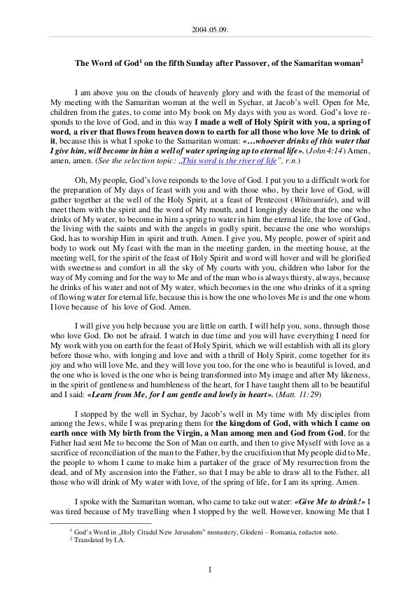 The Word of God in Romania fter Passover, of the Samaritan woman 2004.05.09 - The Word of God on the fifth Sunday a