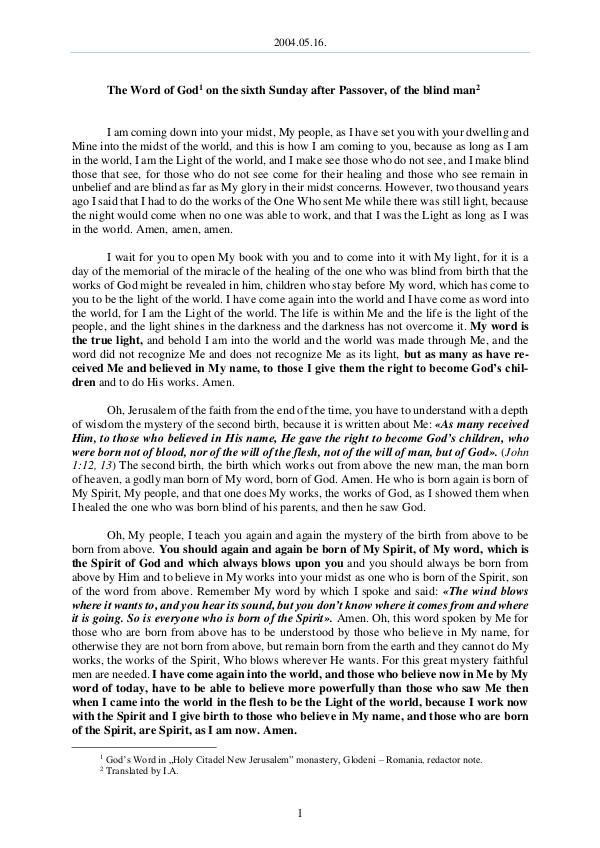 2004.05.16 - The Word of God on the sixth Sunday a