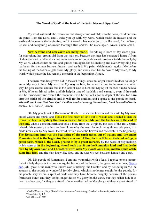 The Word of God in Romania aint hierarch Spyridon 2004.12.25 - The Word of God at the feast of the S