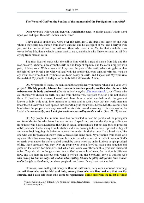 2005.02.27 - The Word of God on the Sunday of the