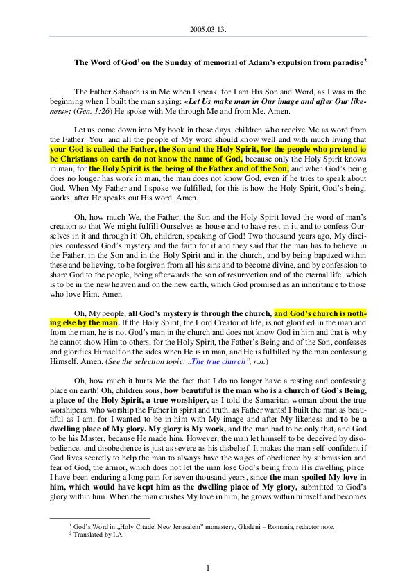2005.03.13 - The Word of God on the Sunday of memo