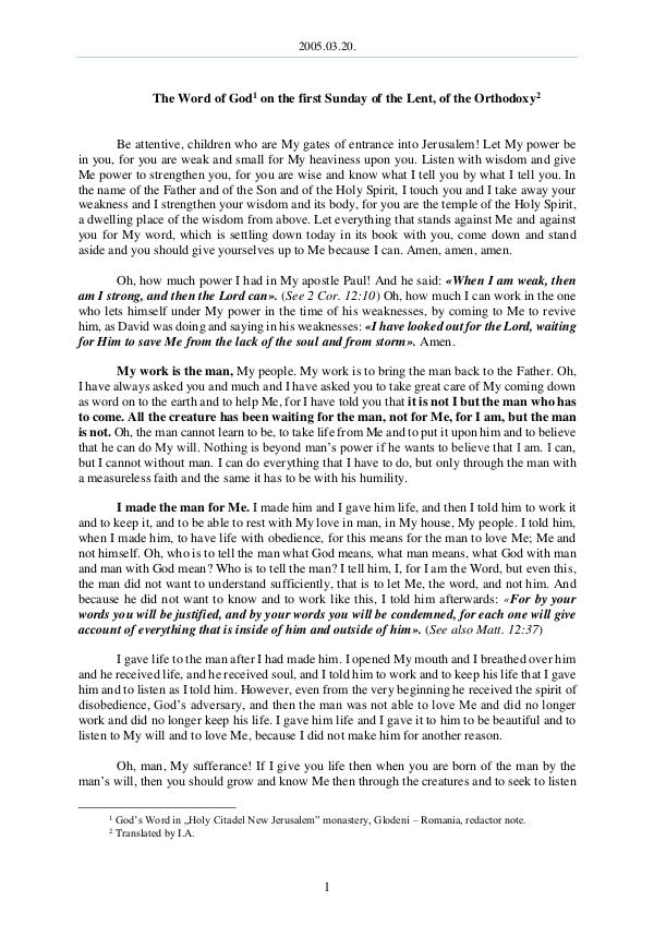 The Word of God in Romania f the Lent, of the Orthodoxy 2005.03.20 - The Word of God on the first Sunday o