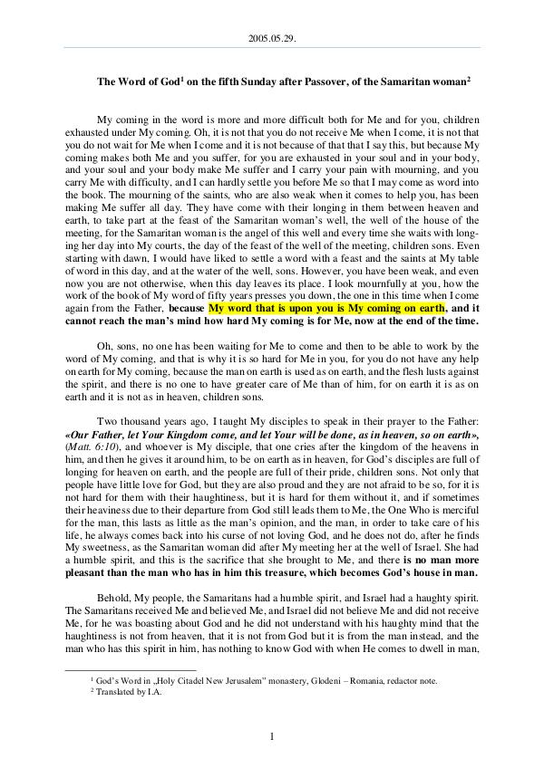 The Word of God in Romania fter Passover, of the Samaritan woman 2005.05.29 - The Word of God on the fifth Sunday a