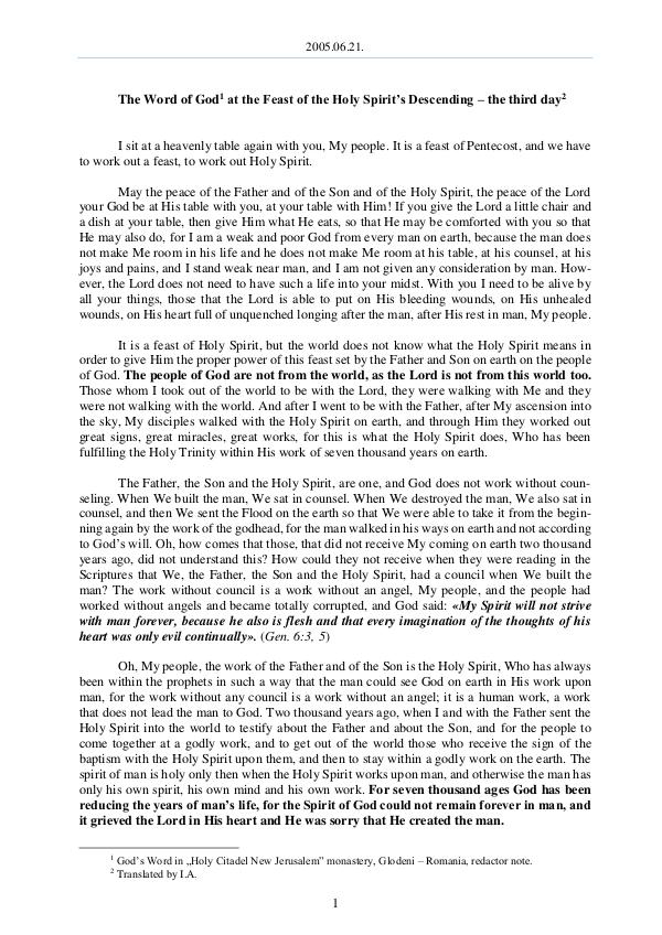The Word of God in Romania oly Spirit's Descending – the third day 2005.06.21 - The Word of God at the Feast of the H