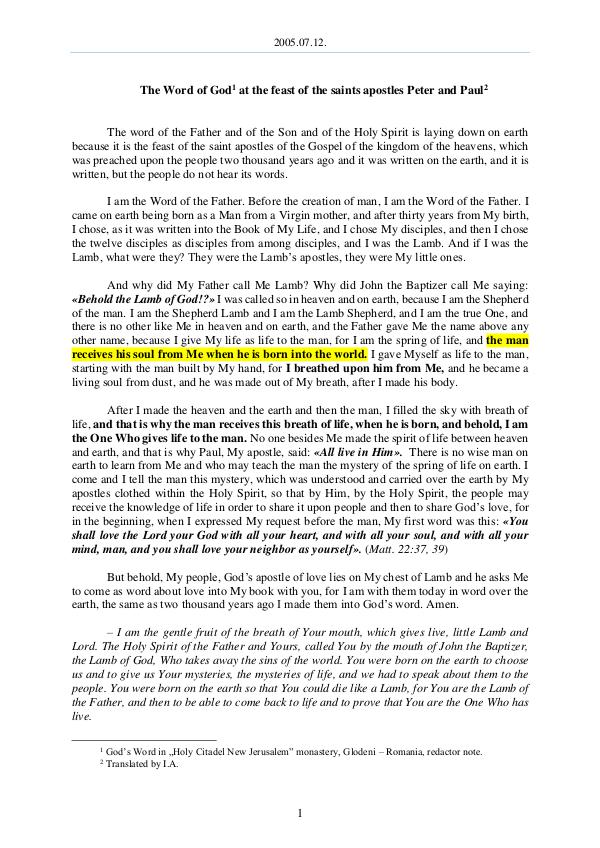 The Word of God in Romania aints apostles Peter and Paul 2005.07.12 - The Word of God at the feast of the s