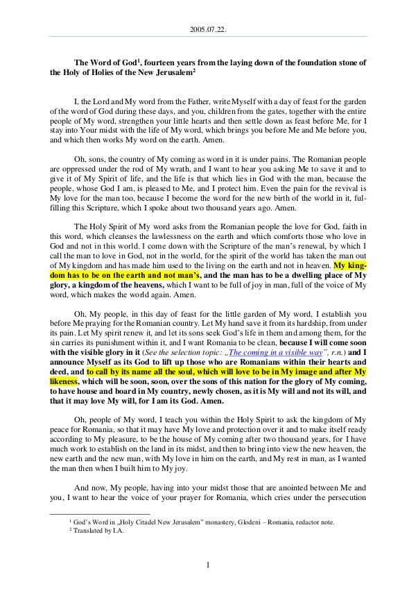 The Word of God in Romania the laying down of the foundation stone of the Holy of Holies of the New Jerusalem 2005.07.22 - The Word of God, fourteen years from