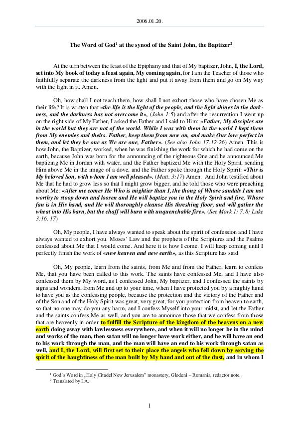 The Word of God in Romania aint John, the Baptizer 2006.01.20 - The Word of God at the synod of the S