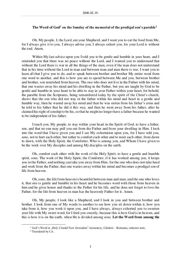 2006.02.19 - The Word of God on the Sunday of the