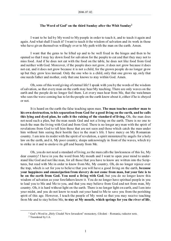 The Word of God in Romania fter the Whit Sunday 2006.07.02 - The Word of God on the third Sunday a