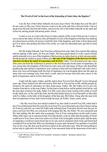 The Word of God in Romania eheading of Saint John, the Baptizer