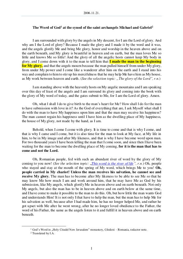 The Word of God in Romania aint archangels Michael and Gabriel 2006.11.21 - The Word of God at the synod of the s