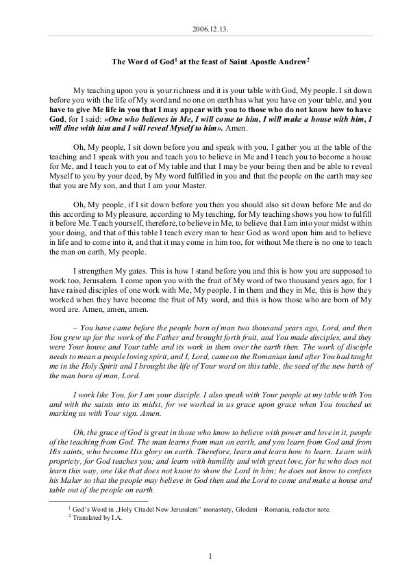 The Word of God in Romania  Apostle Andrew 2006.12.13 - The Word of God at the feast of Saint