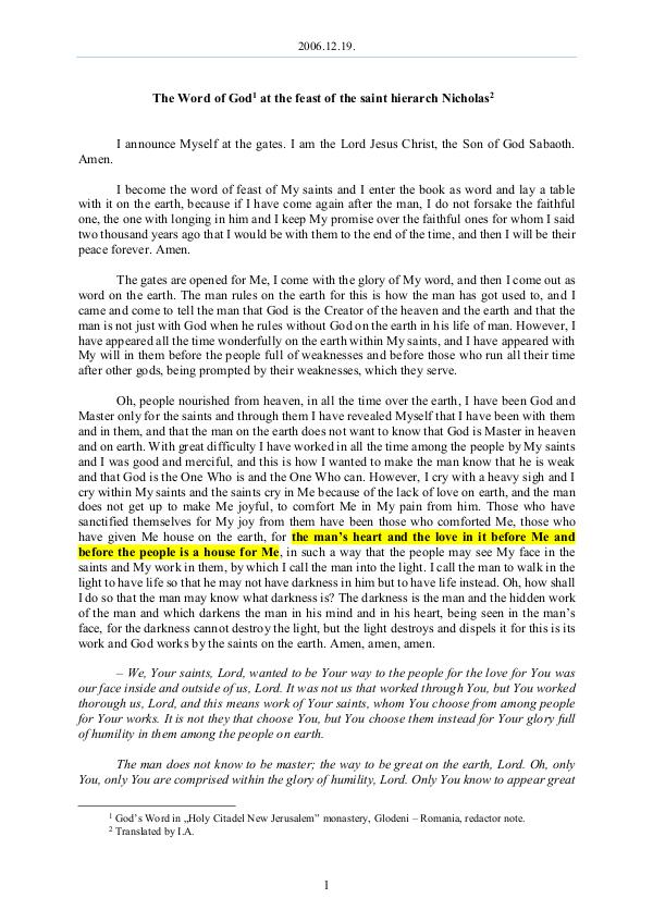 The Word of God in Romania 2006.12.19 - The Word of God at the feast of the s
