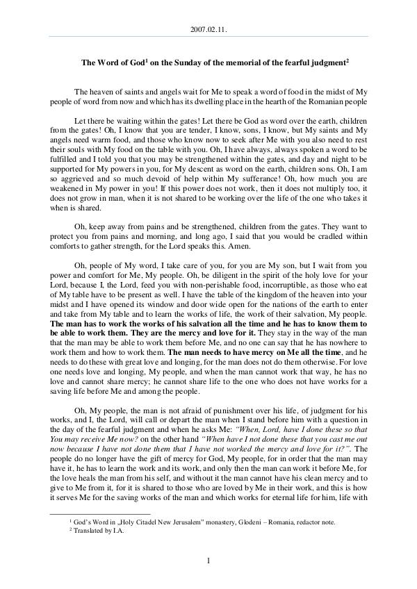 The Word of God in Romania 2007.02.11 - The Word of God on the Sunday of the