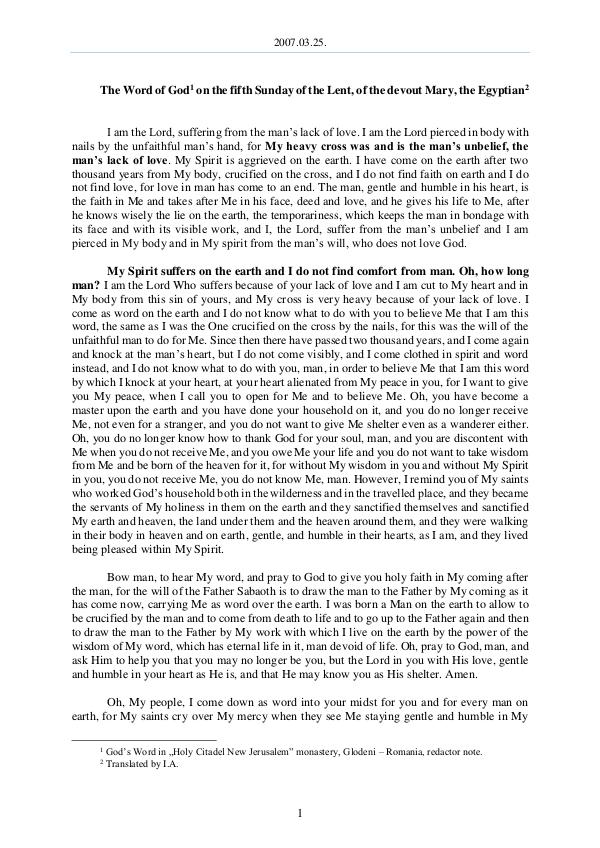 The Word of God in Romania f the Lent, of the devout Mary, the Egyptian 2007.03.25 - The Word of God on the fifth Sunday o